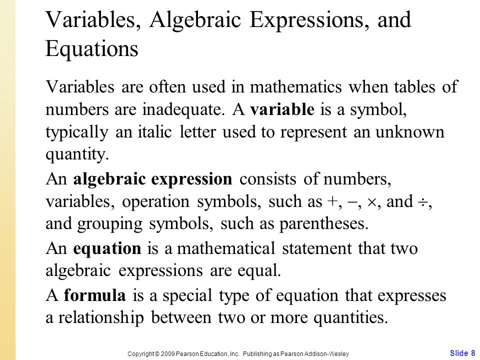 Variables, Algebraic Expressions, and Equations