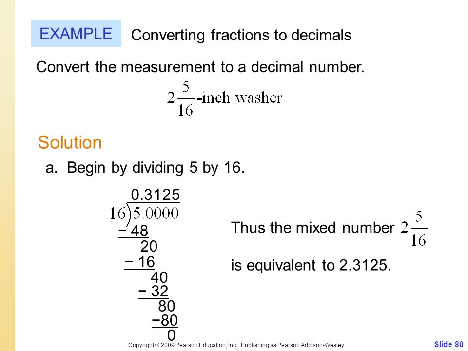Solution EXAMPLE Converting fractions to decimals
