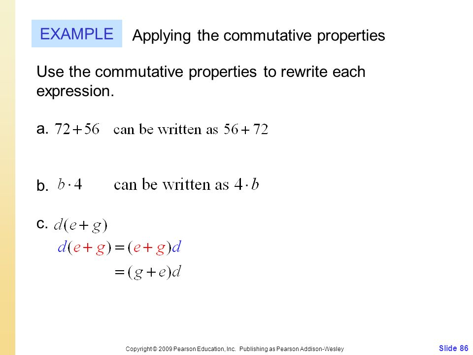 Applying the commutative properties