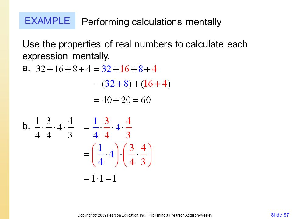 Performing calculations mentally