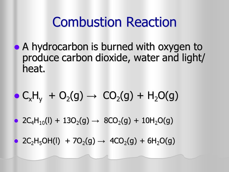 Combustion Reaction A hydrocarbon is burned with oxygen to produce carbon dioxide, water and light/ heat.