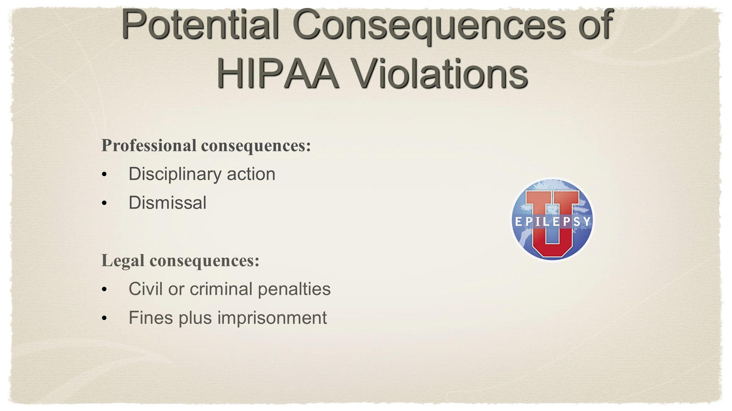 Potential Consequences of HIPAA Violations