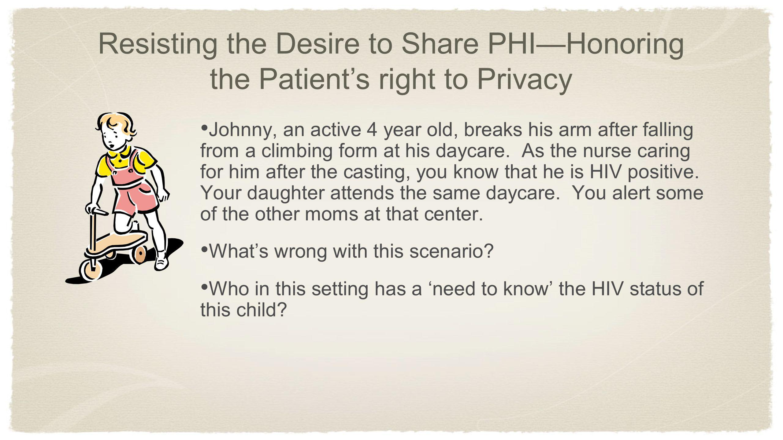Resisting the Desire to Share PHI—Honoring the Patient's right to Privacy