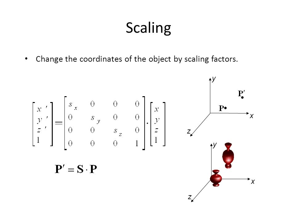 Scaling Change the coordinates of the object by scaling factors. y x z