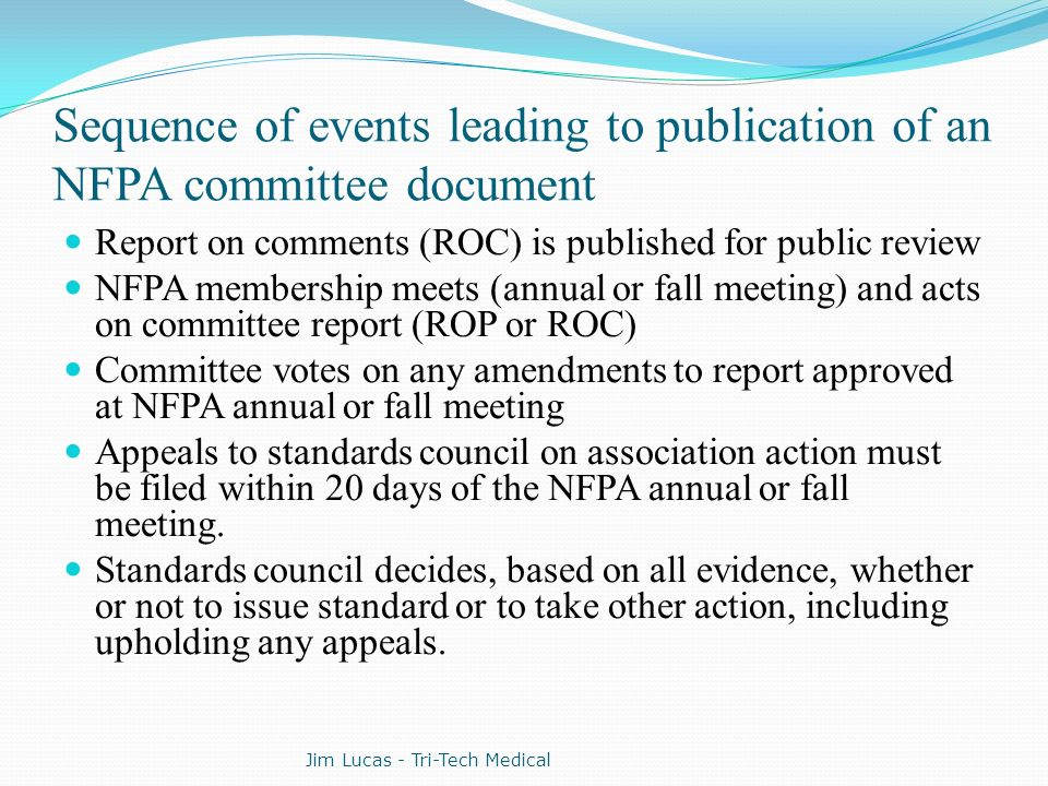 Sequence of events leading to publication of an NFPA committee document