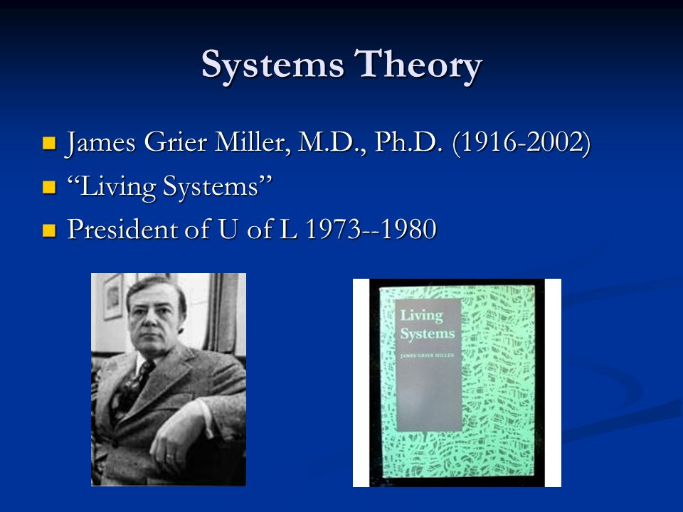 Systems Theory James Grier Miller, M.D., Ph.D. ( )