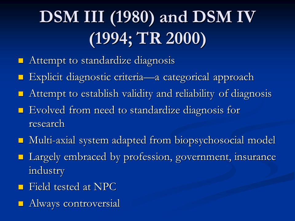 DSM III (1980) and DSM IV (1994; TR 2000)