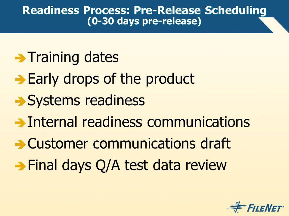 Readiness Process: Pre-Release Scheduling (0-30 days pre-release)