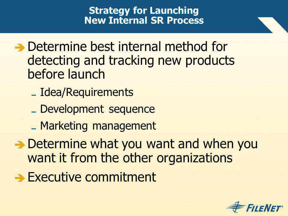 Strategy for Launching New Internal SR Process