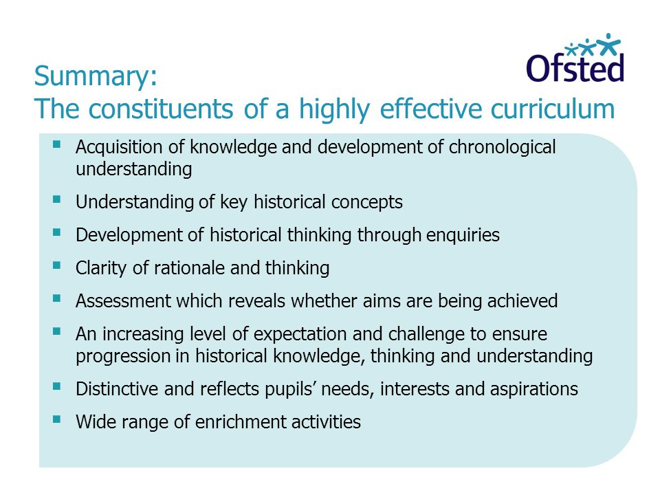 Summary: The constituents of a highly effective curriculum
