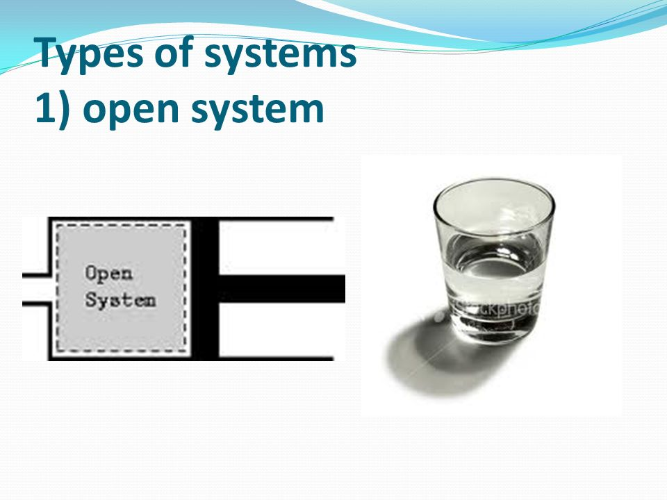 Types of systems 1) open system