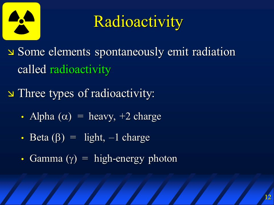 Radioactivity Some elements spontaneously emit radiation called radioactivity. Three types of radioactivity: