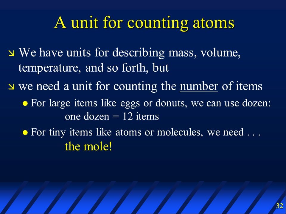 A unit for counting atoms