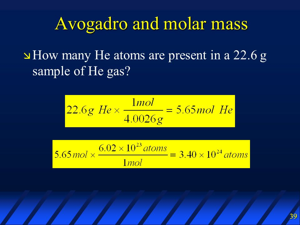 Avogadro and molar mass