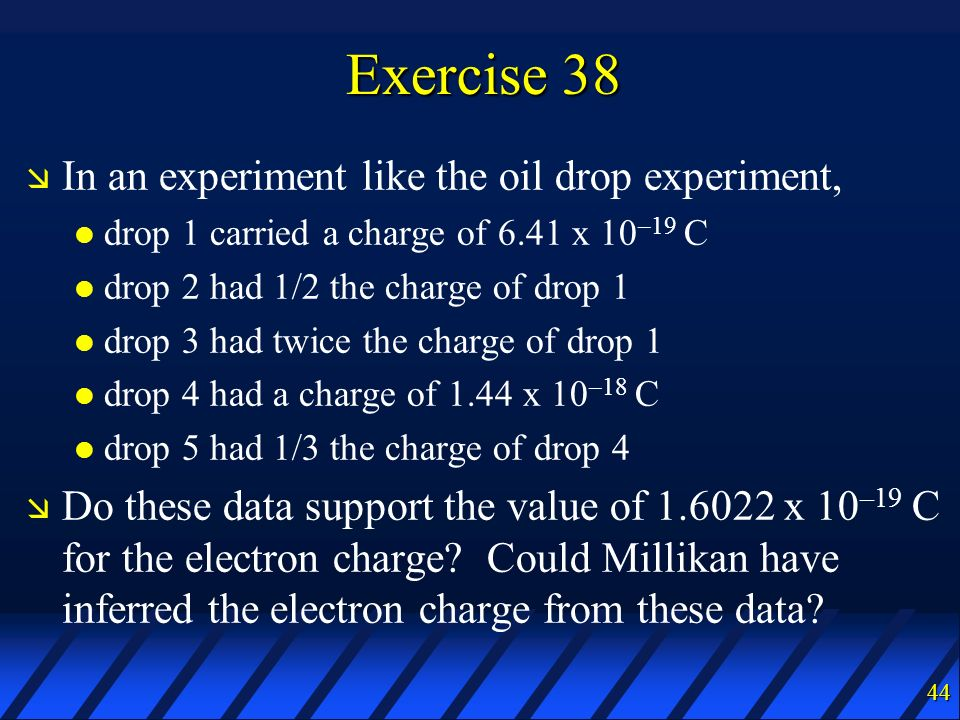 Exercise 38 In an experiment like the oil drop experiment,