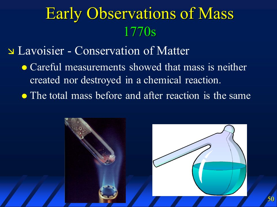 Early Observations of Mass 1770s