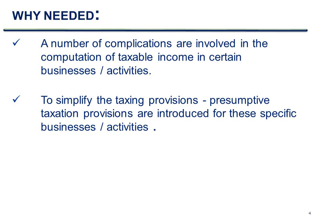 WHY NEEDED: A number of complications are involved in the computation of taxable income in certain businesses / activities.