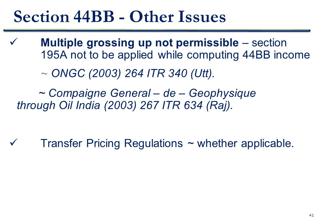 Section 44BB - Other Issues