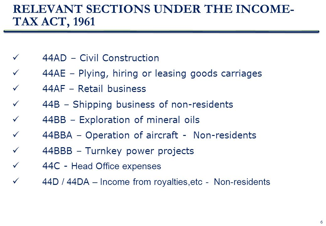 RELEVANT SECTIONS UNDER THE INCOME-TAX ACT, 1961