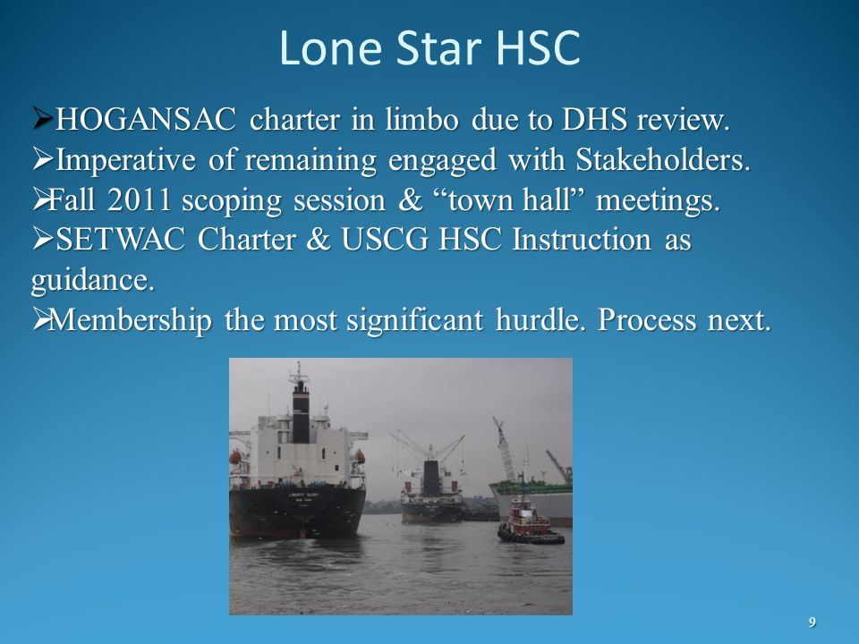 Lone Star HSC HOGANSAC charter in limbo due to DHS review.