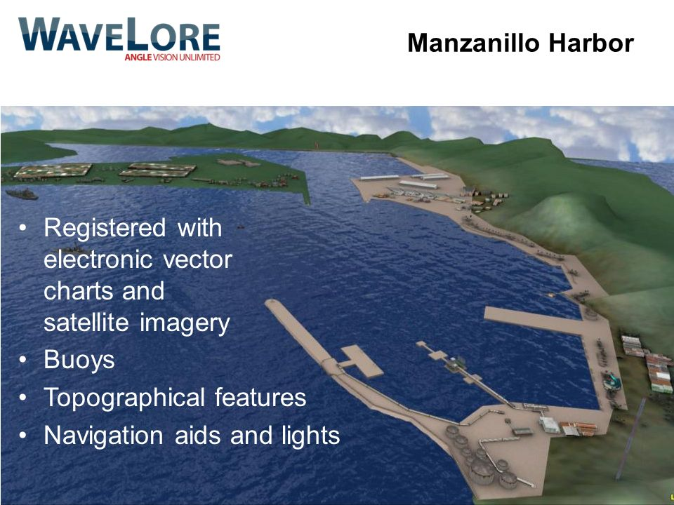 Manzanillo Harbor Registered with electronic vector charts and satellite imagery. Buoys. Topographical features.