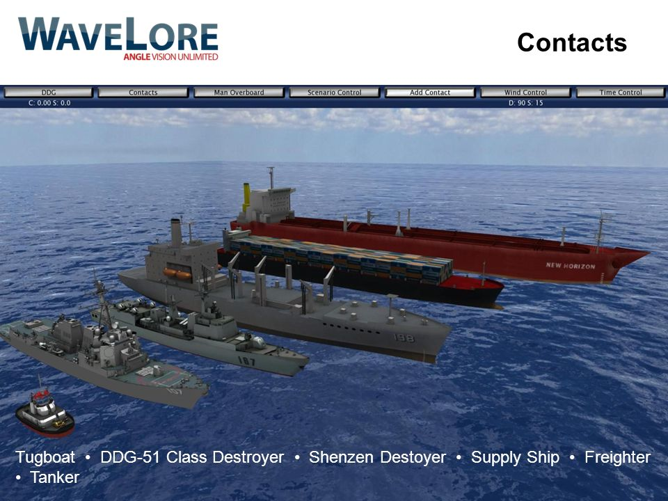 Contacts Tugboat • DDG-51 Class Destroyer • Shenzen Destoyer • Supply Ship • Freighter • Tanker.