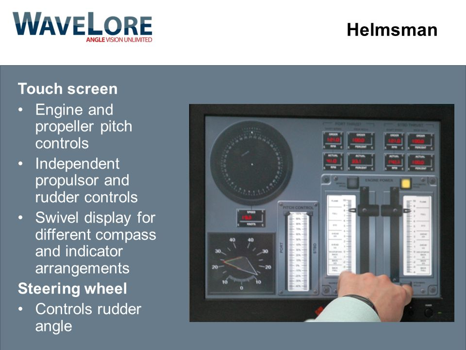 Helmsman Touch screen Engine and propeller pitch controls