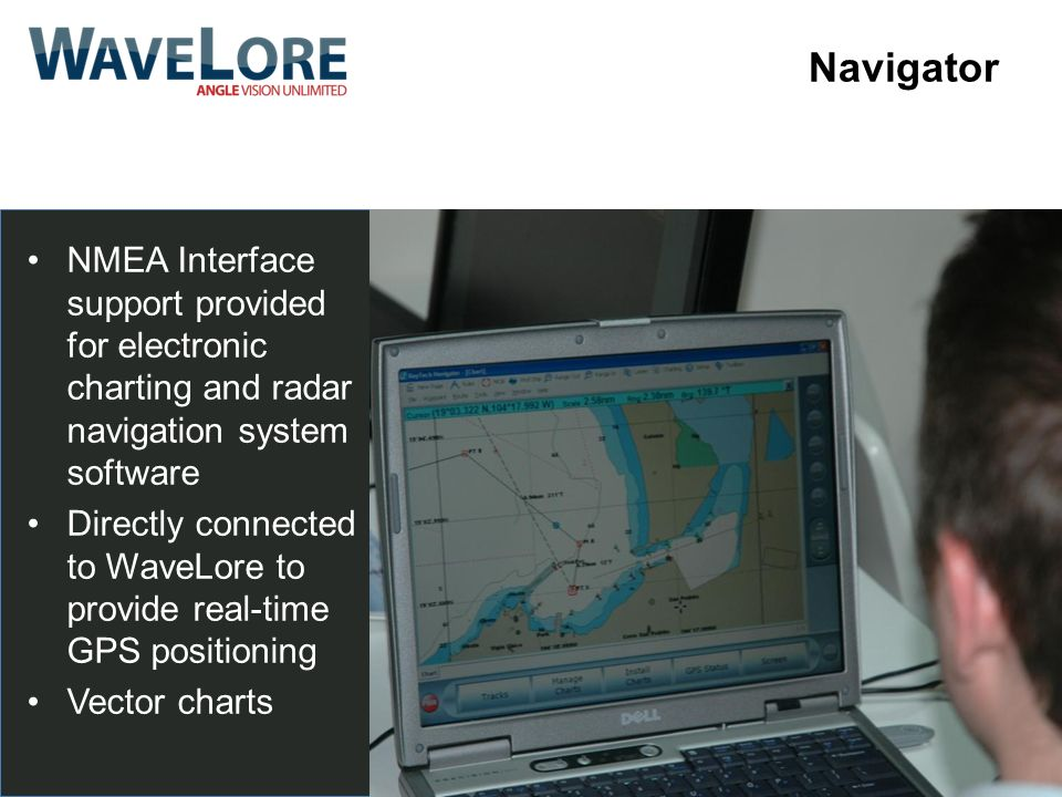 Navigator NMEA Interface support provided for electronic charting and radar navigation system software.