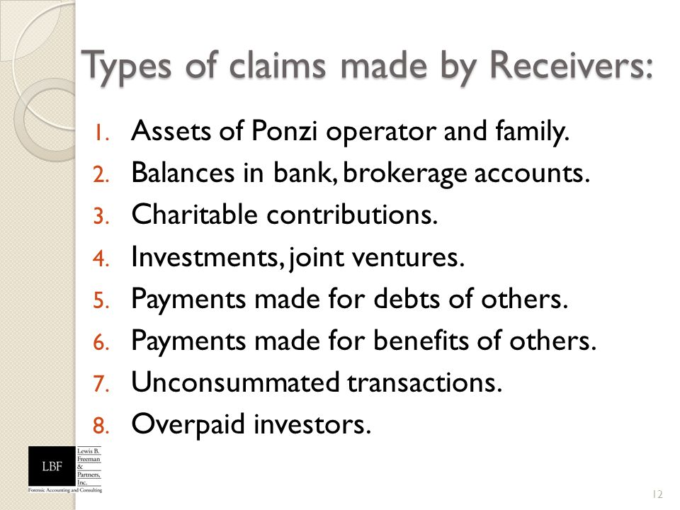 Types of claims made by Receivers: