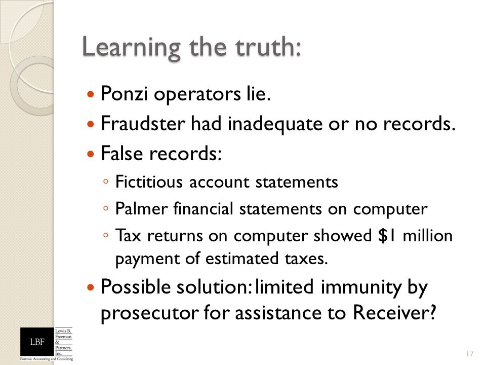 Learning the truth: Ponzi operators lie.