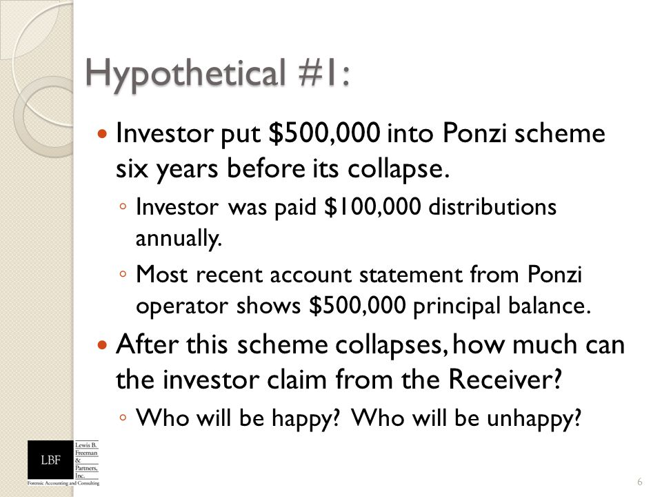 Hypothetical #1: Investor put $500,000 into Ponzi scheme six years before its collapse. Investor was paid $100,000 distributions annually.