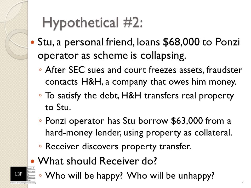 Hypothetical #2: Stu, a personal friend, loans $68,000 to Ponzi operator as scheme is collapsing.