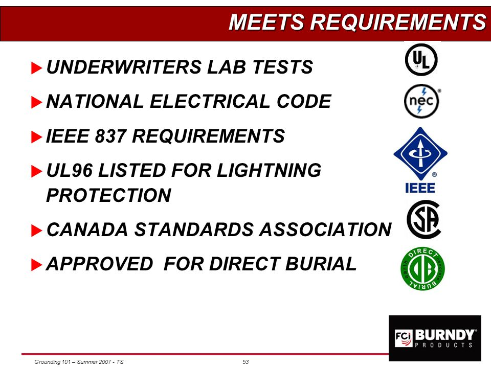 MEETS REQUIREMENTS UNDERWRITERS LAB TESTS NATIONAL ELECTRICAL CODE