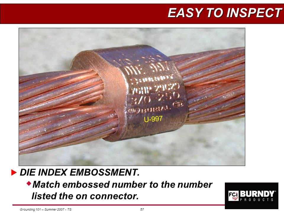 EASY TO INSPECT DIE INDEX EMBOSSMENT.