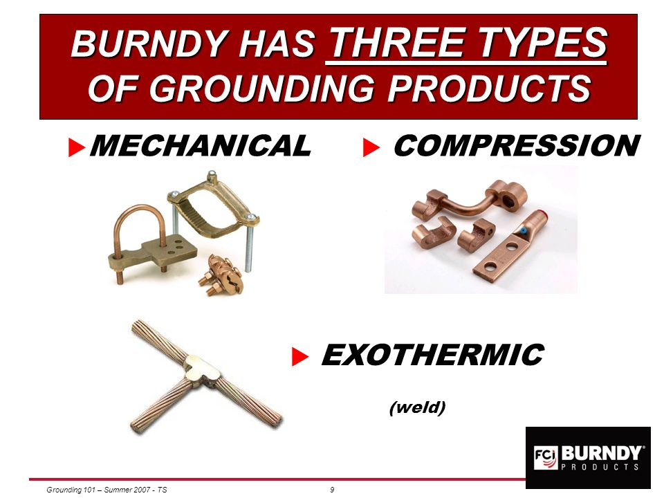 BURNDY HAS THREE TYPES OF GROUNDING PRODUCTS