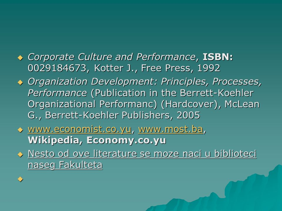 Corporate Culture and Performance, ISBN: , Kotter J