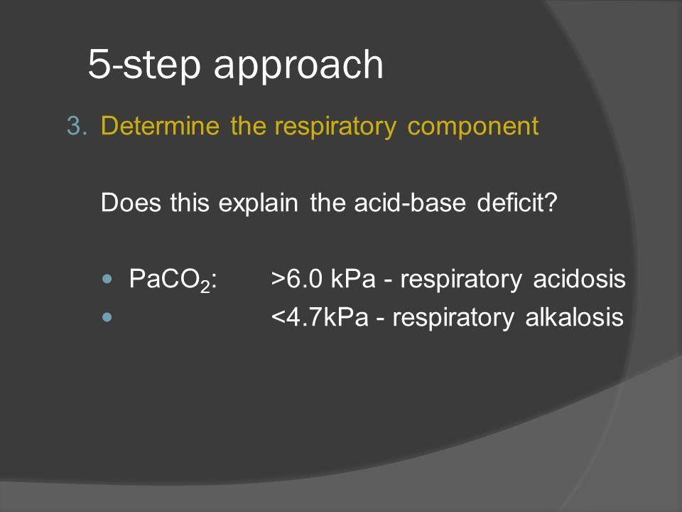 5-step approach Determine the respiratory component