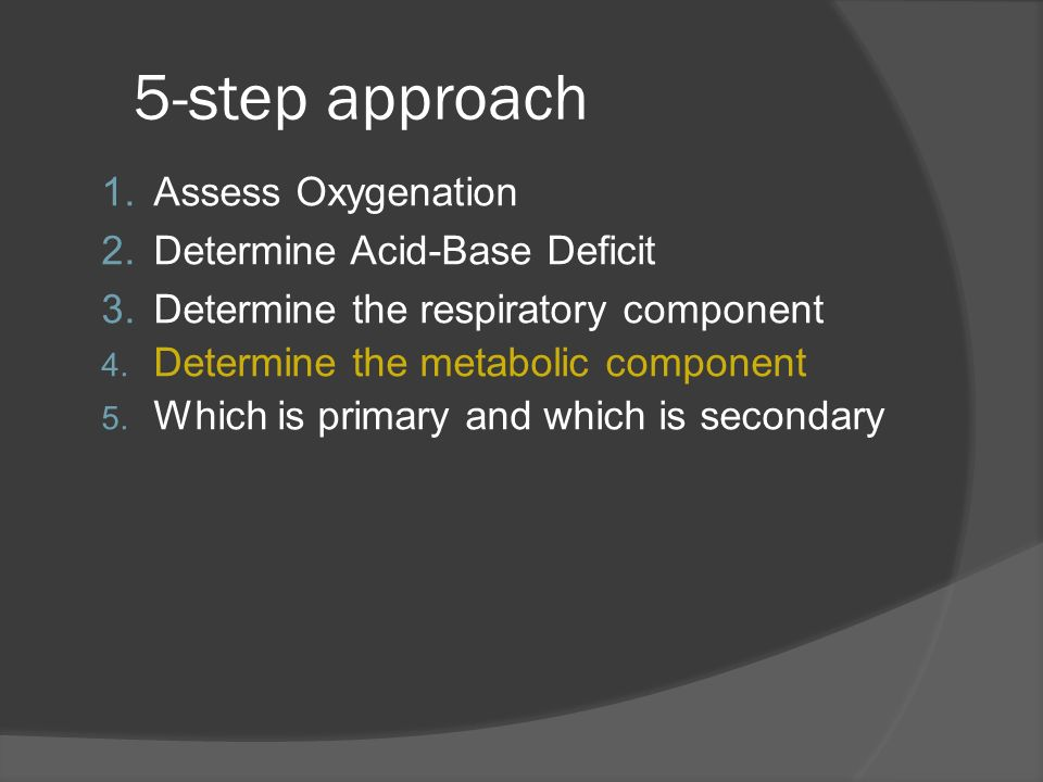 5-step approach Assess Oxygenation Determine Acid-Base Deficit