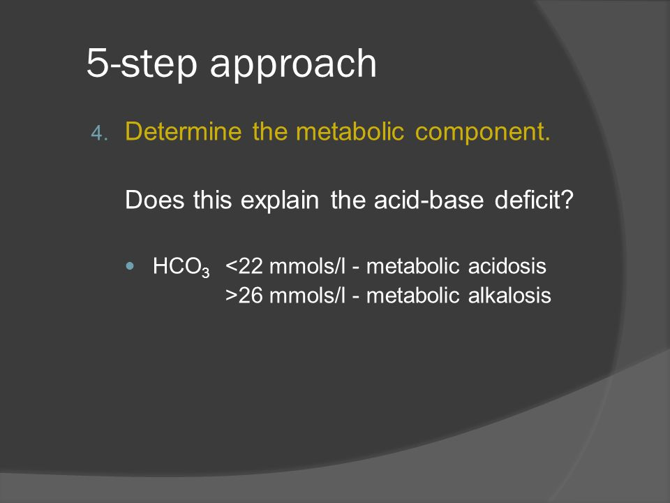 5-step approach Determine the metabolic component.