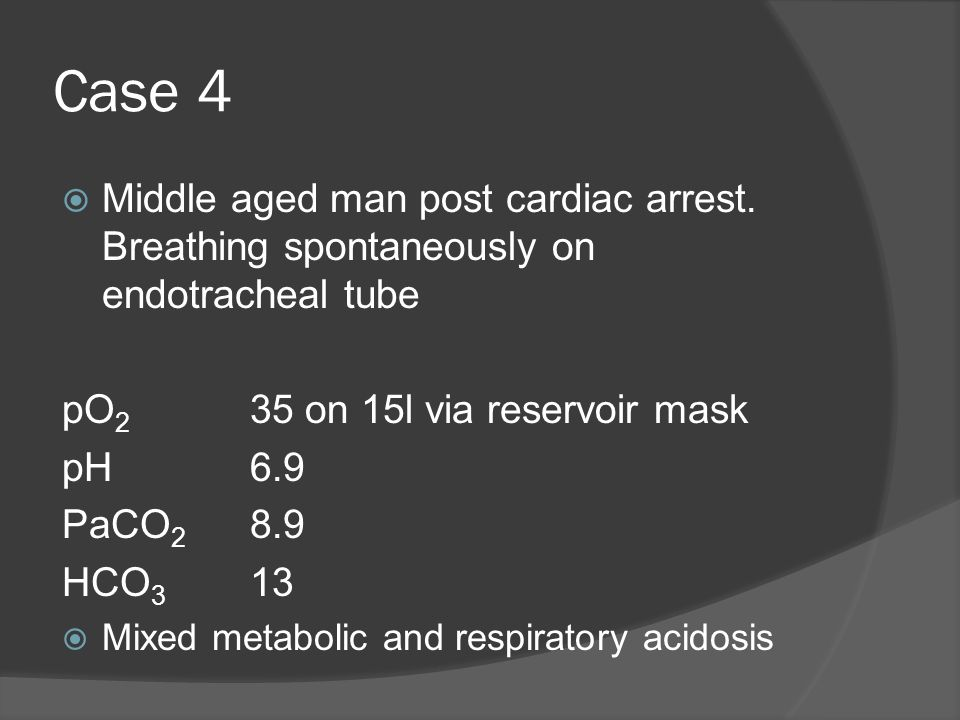 Case 4 Middle aged man post cardiac arrest. Breathing spontaneously on endotracheal tube. pO2 35 on 15l via reservoir mask.