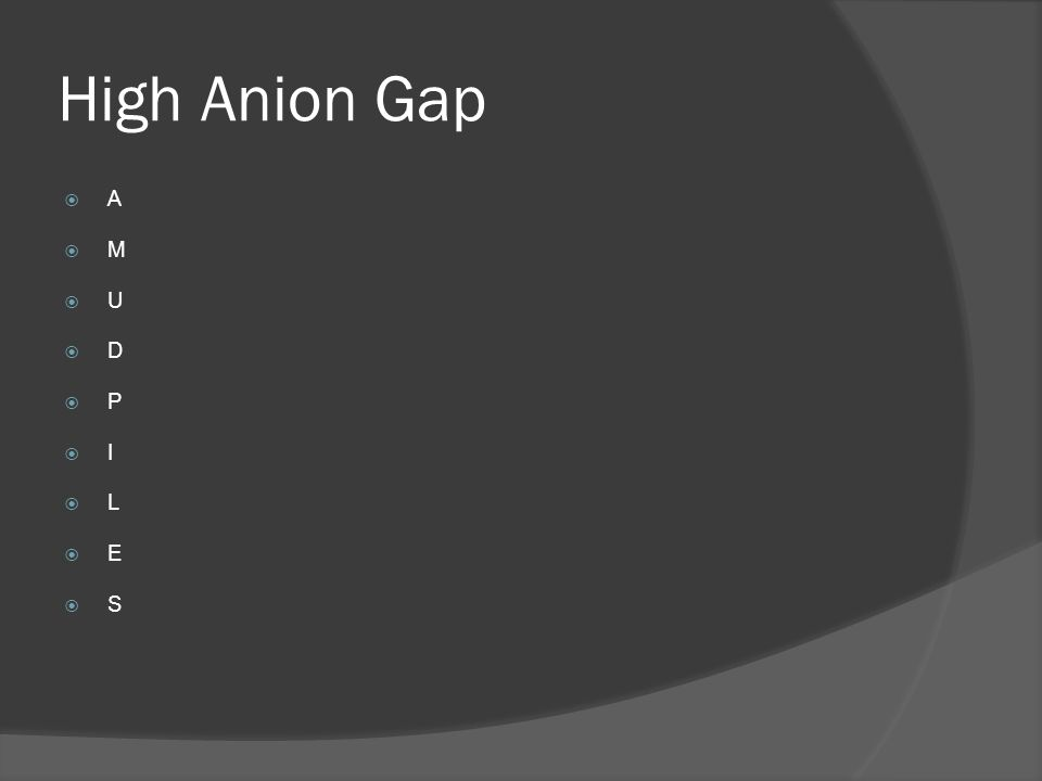 High Anion Gap A M U D P I L E S
