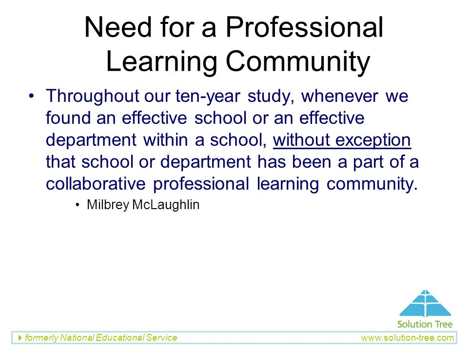 Need for a Professional Learning Community