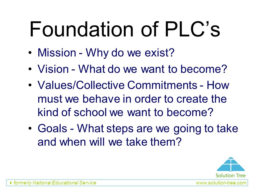 Foundation of PLC's Mission - Why do we exist