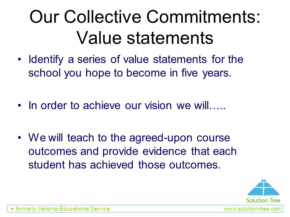 Our Collective Commitments: Value statements