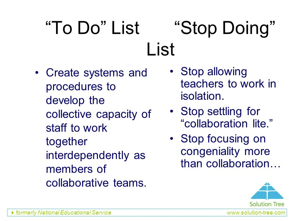To Do List Stop Doing List