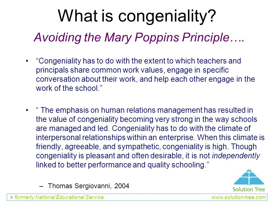 What is congeniality Avoiding the Mary Poppins Principle….