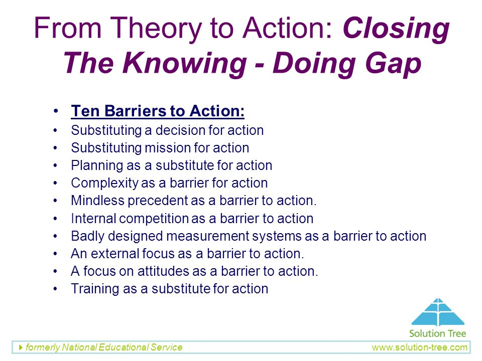 From Theory to Action: Closing The Knowing - Doing Gap