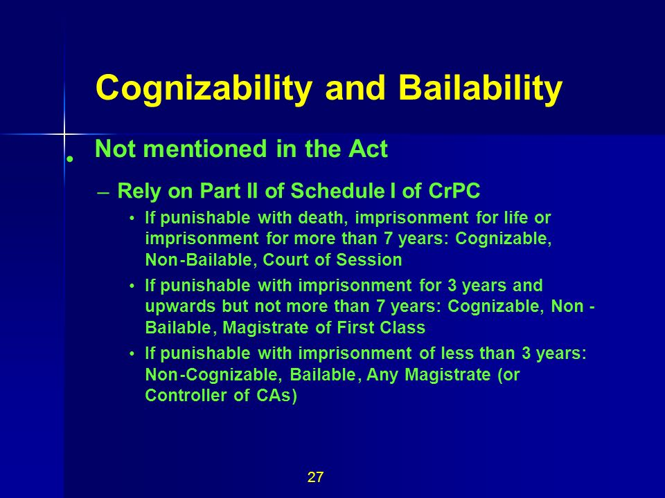 Cognizability and Bailability Not mentioned in the Act • 27 –