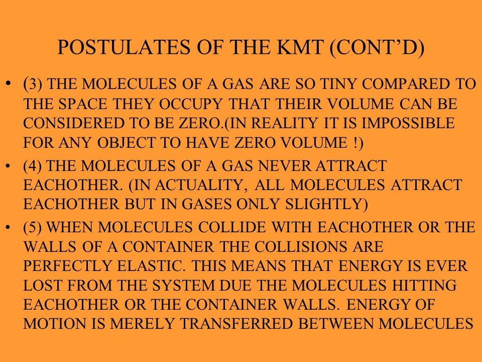 POSTULATES OF THE KMT (CONT'D)