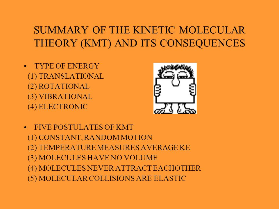 SUMMARY OF THE KINETIC MOLECULAR THEORY (KMT) AND ITS CONSEQUENCES